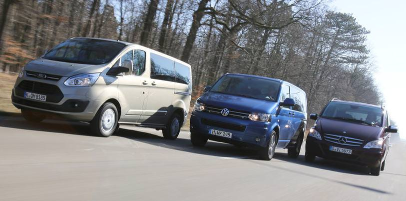 VW Multivan 2.0 TDI Comfortline vs Mercedes Viano 2.0 CDI Trend  vs Ford Tourneo Custom Titanium 2013