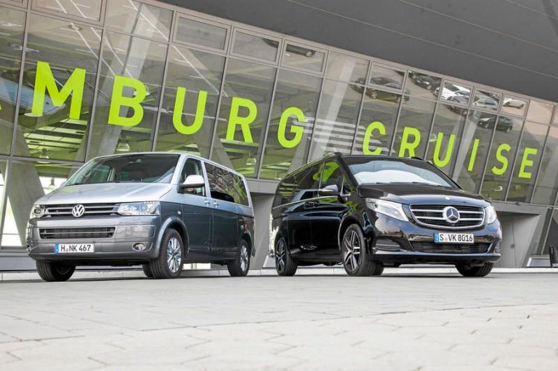 Mercedes V250 vs VW Multivan 2.0 Bi-TDI 2014-Batalia utilitarelor premuim