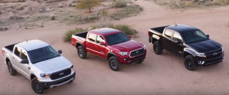 VIDEO-Ford Ranger este umilit intr-un test de catre Toyota Tacoma si Chevrolet Colorado