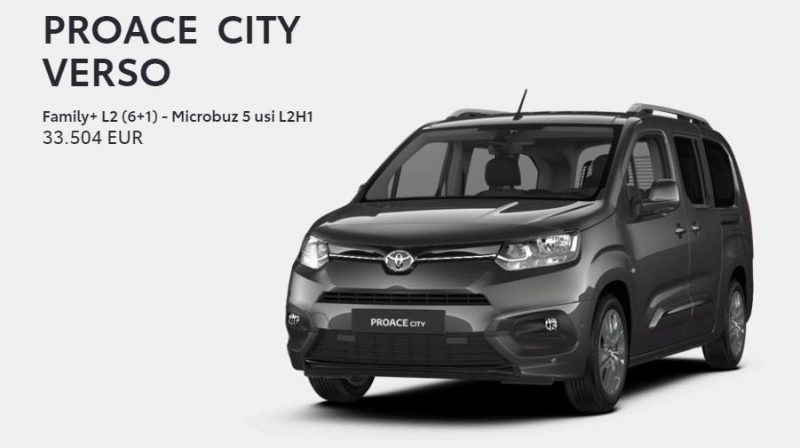 In Romania o utilitara Toyota Proace City Verso L2H1 1.5D/130CP 8AT Family+ costa peste 33.000 euro